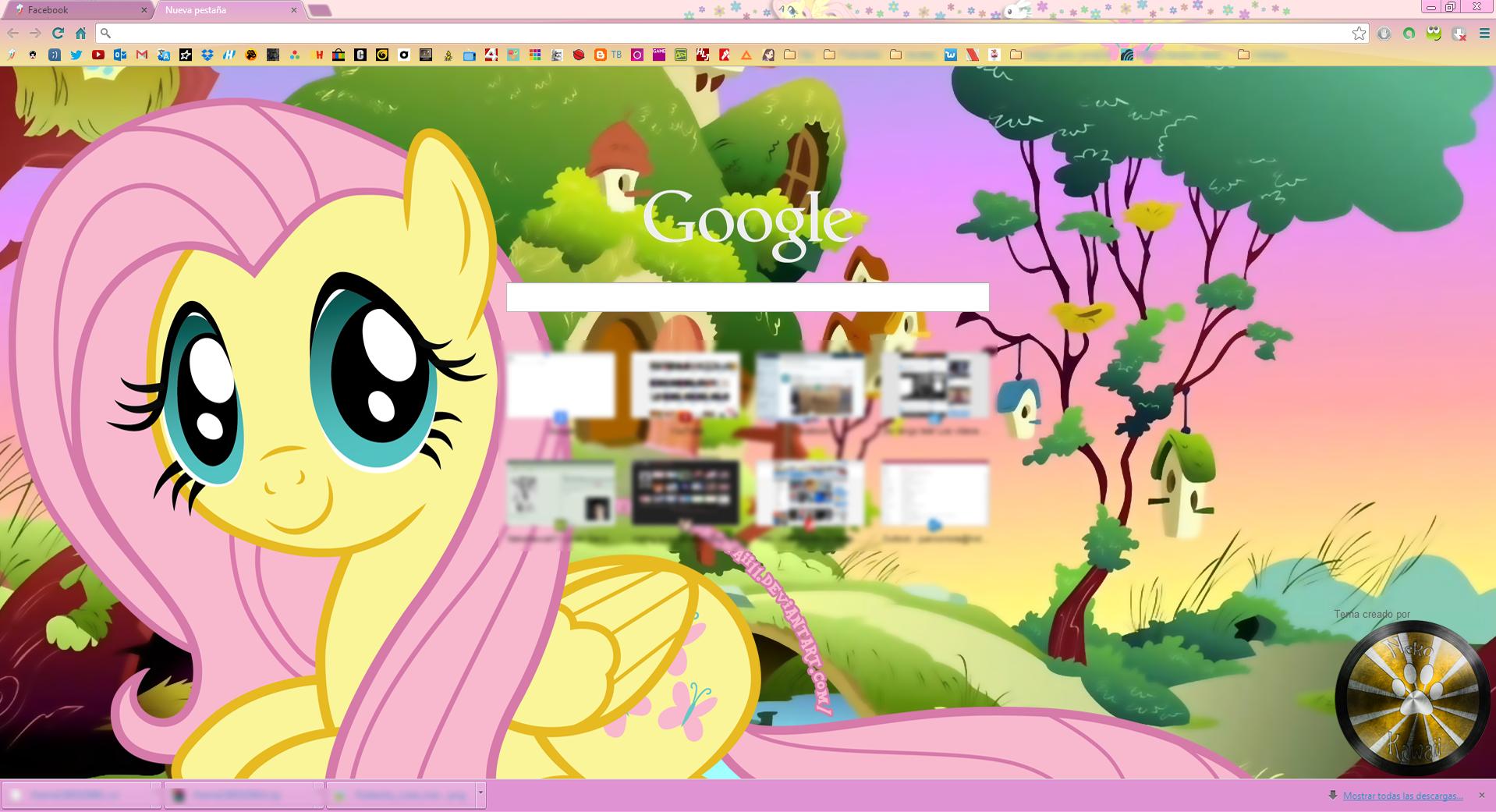 Google themes kawaii -  Fluttershy Google Chrome Theme By Nekokawaii11