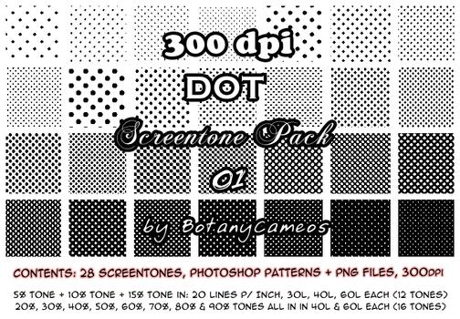 Free resource - 300dpi Screentones - DOT pack