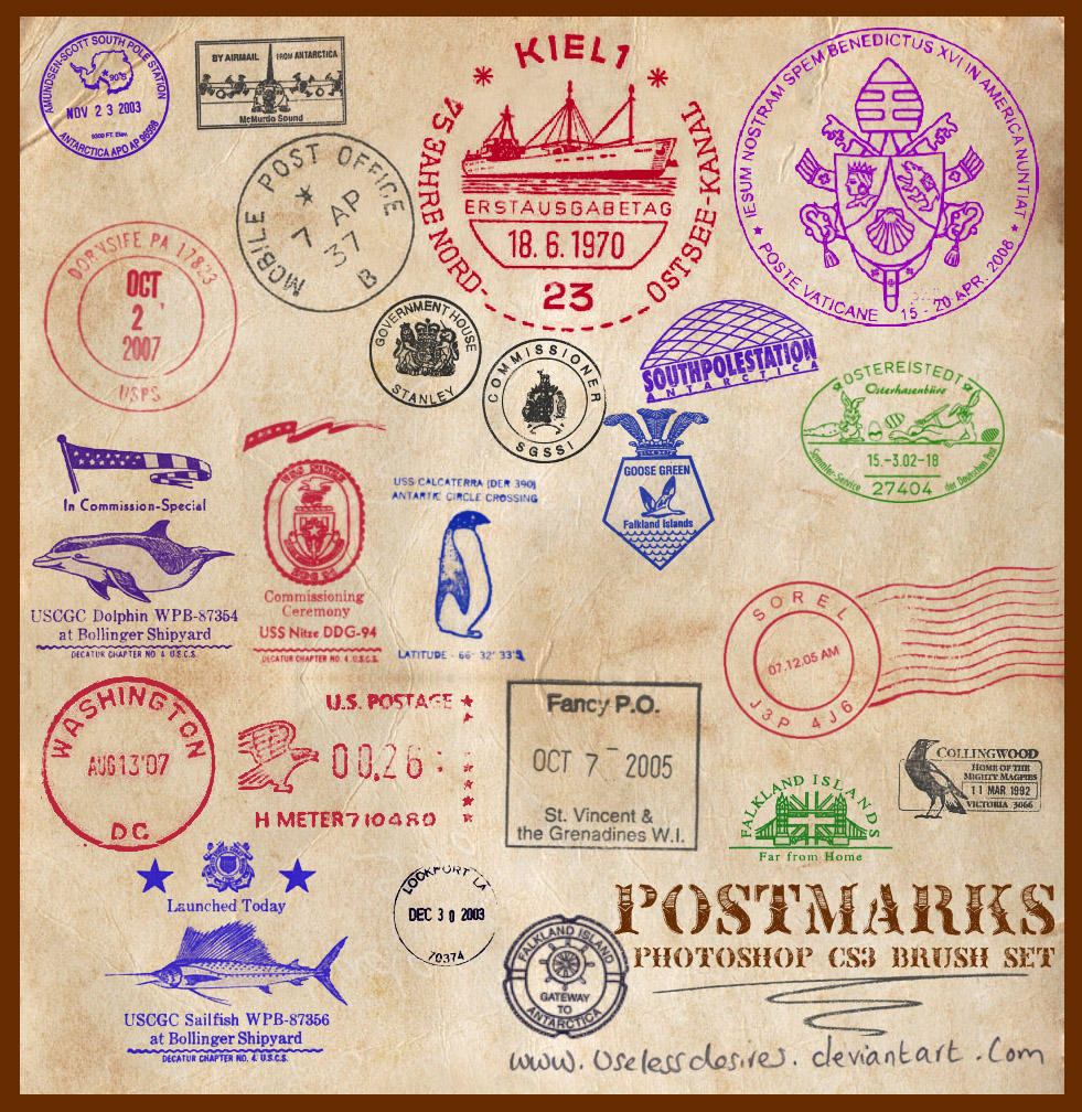 Postmarks CS3 Brushes by uselessdesires