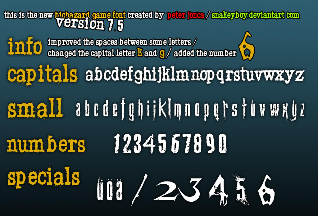 Resident Evil Biohazard Game Font Version 7 5 By