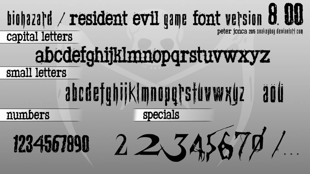 Biohazard / Resident Evil Game Font version 8 00 by Snakeyboy on