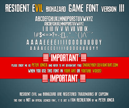 Resident Evil 7 biohazard Game Font version 3