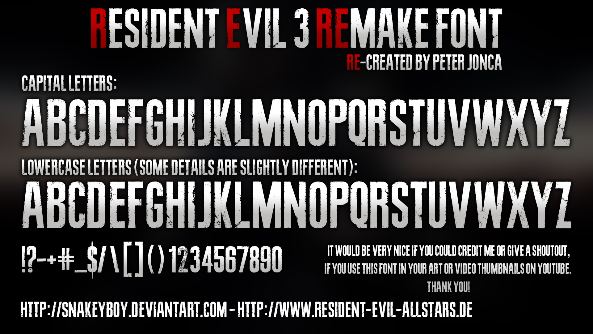 Resident Evil 3 Remake Font By Snakeyboy On Deviantart