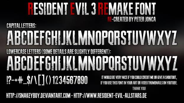Resident Evil 3 Remake Font