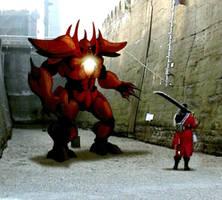 Gif: Final Fantasy - Auron vs Vulkhan