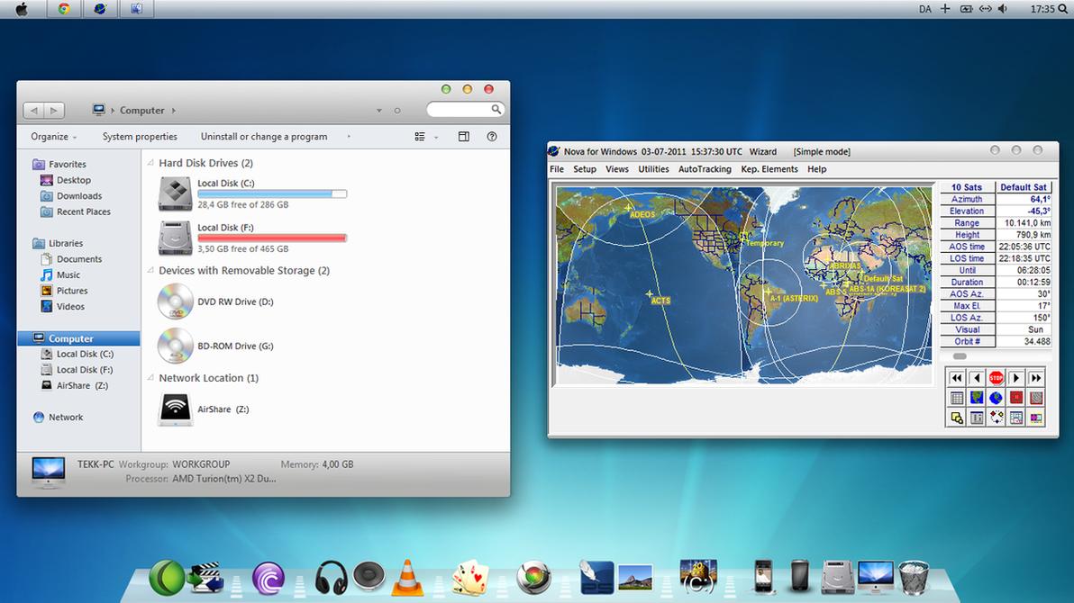 Windows Desktop customized with Mac icons