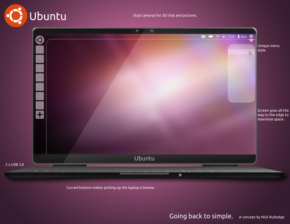 Ubuntu Laptop Concept - Photoshop File by eldron2323