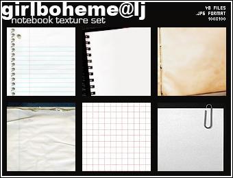 Notebook texture set by Girlboheme