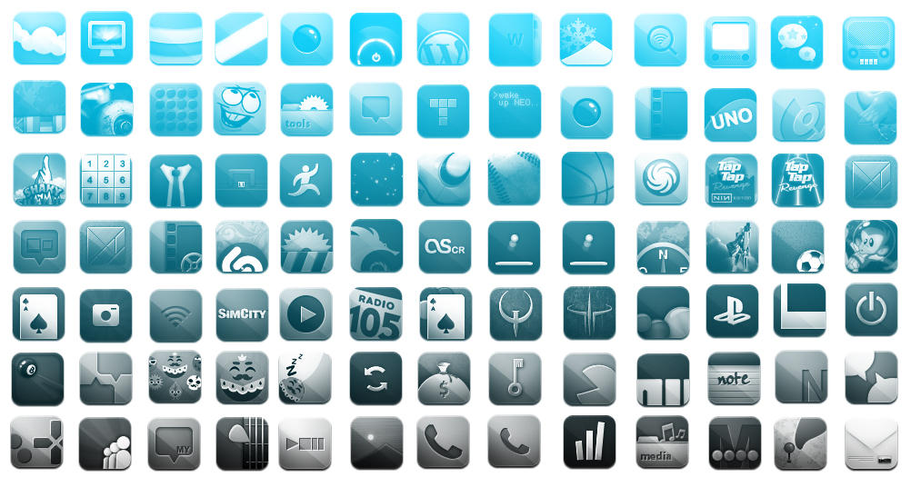 iPhone Icons Photoshop Brushes by iXoMan