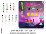 Snake + Fish Bones. Icon+PNG