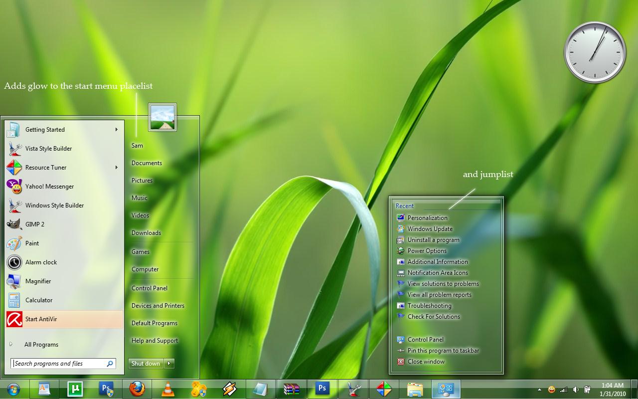 Start menu txt glow for Win 7