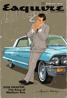 Don Draper Sitting on a Cadillac Cool.. by AtomicKirby