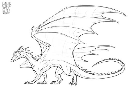 Dragon Lineart Template 2