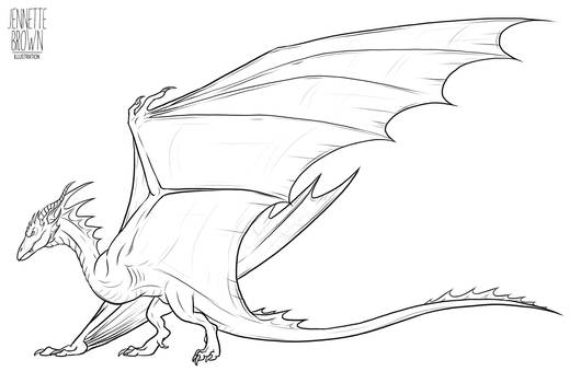 Wyvern Lineart Template 1