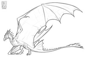 Wyvern Lineart Template 2