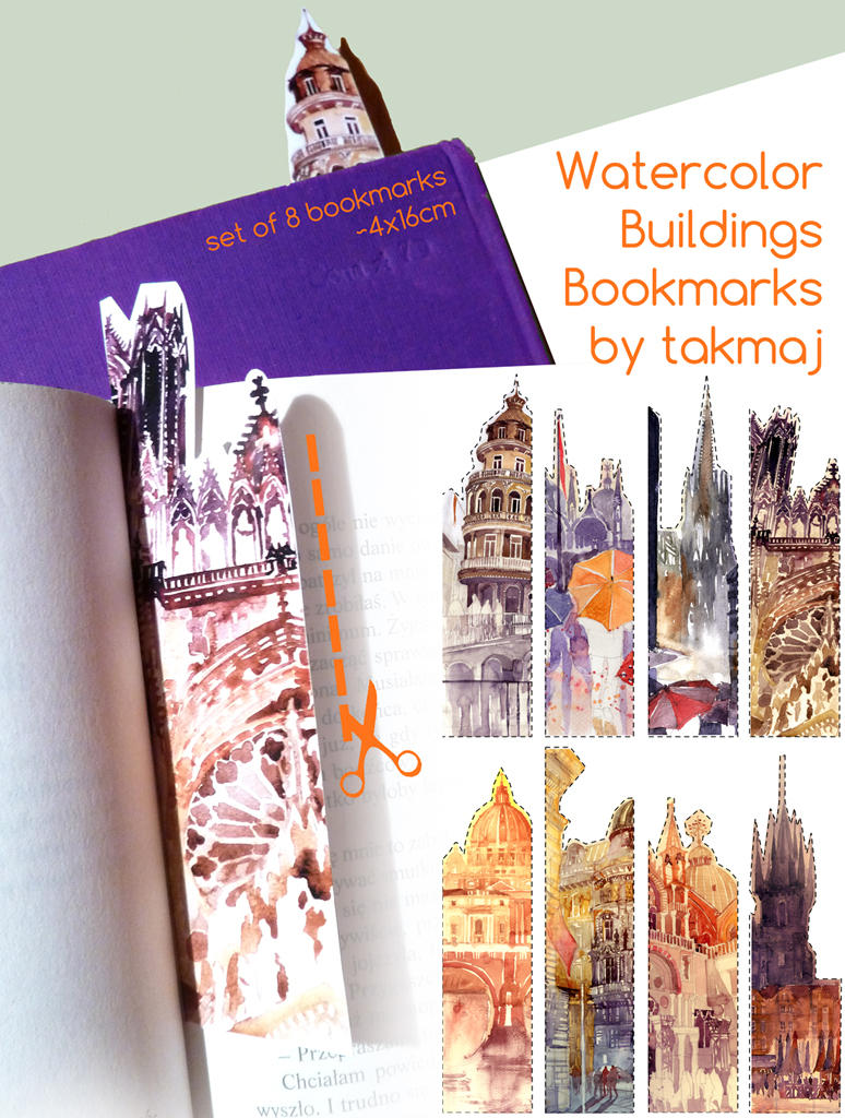 Watercolor bookmarks - Watercolor Bookmarks By Takmaj