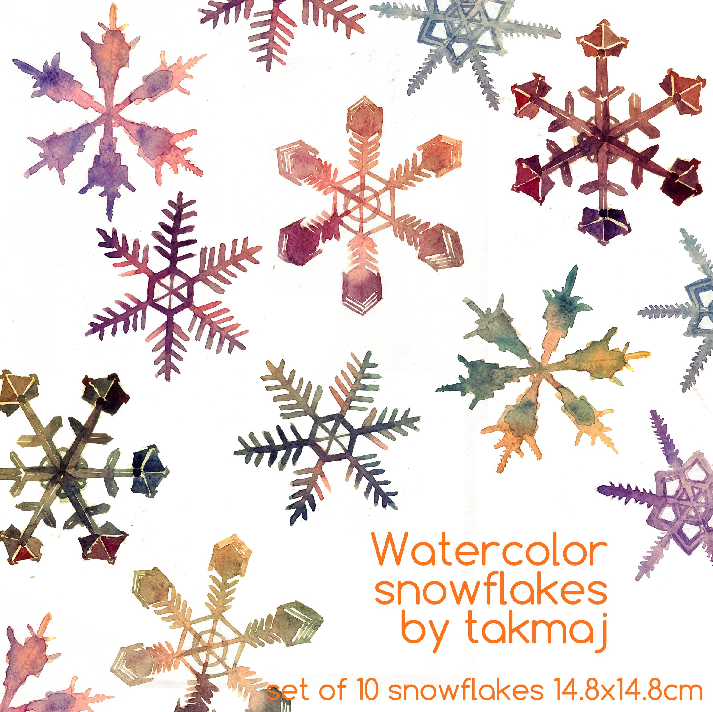 watercolor snowflakes by takmaj