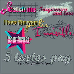 5 textos PNG by LibertyWalkDesigns