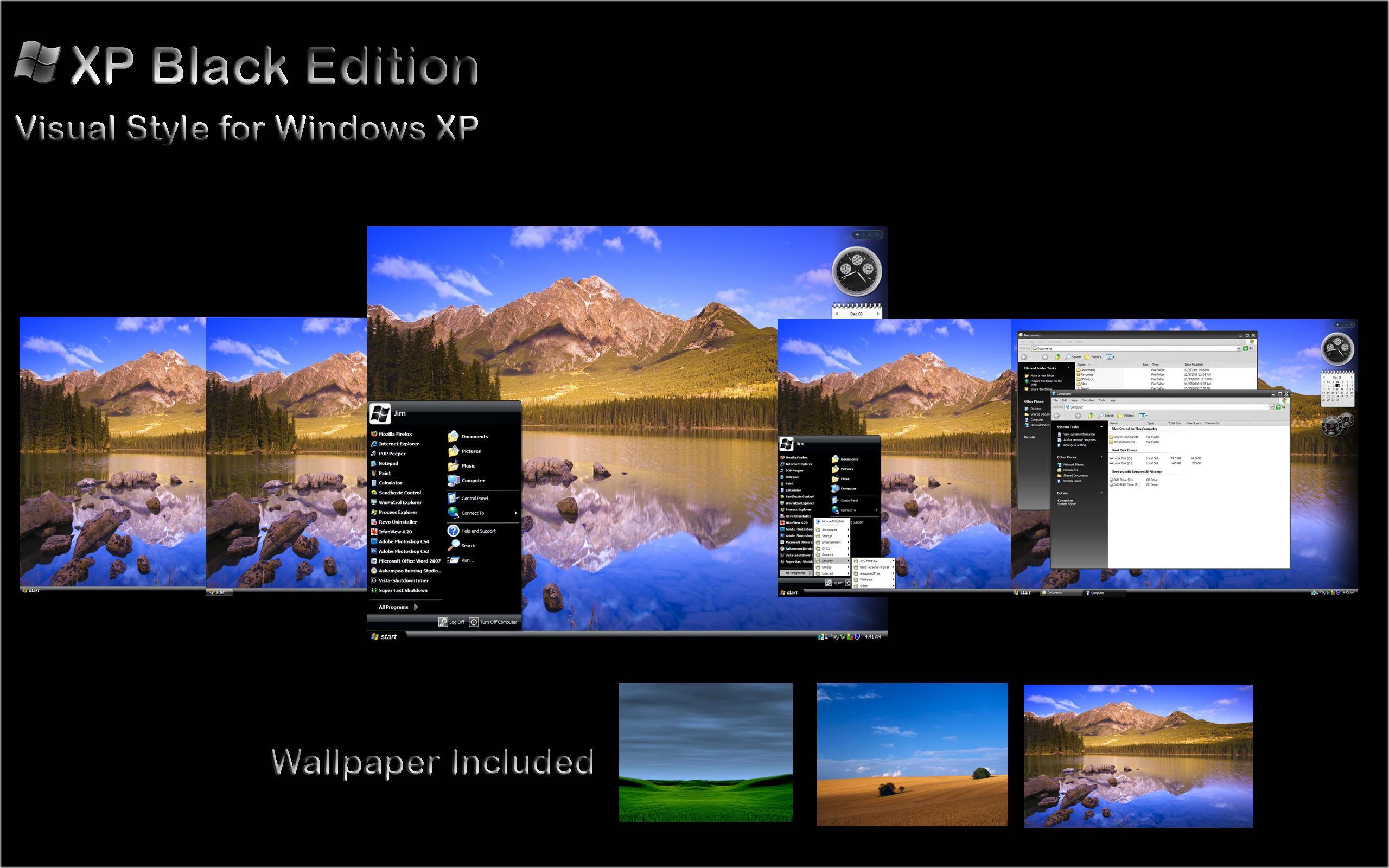 Windows xp black edition theme for xp.