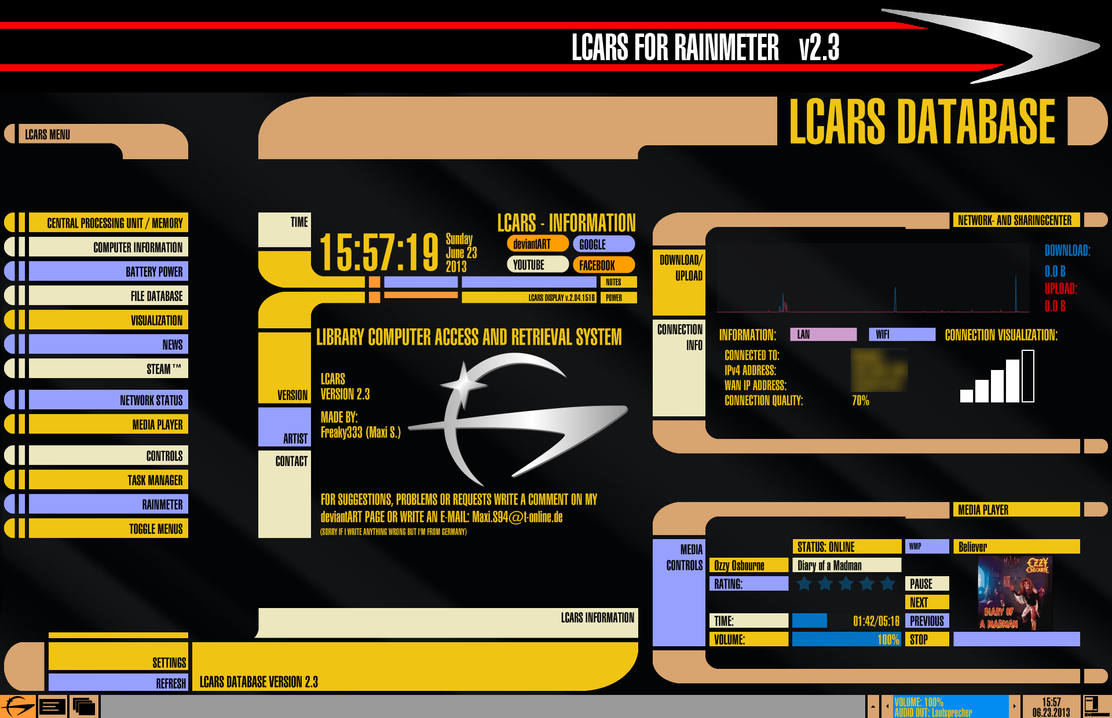 LCARS for Rainmeter VERSION 2.3 (June 23 2013) by Freaky333