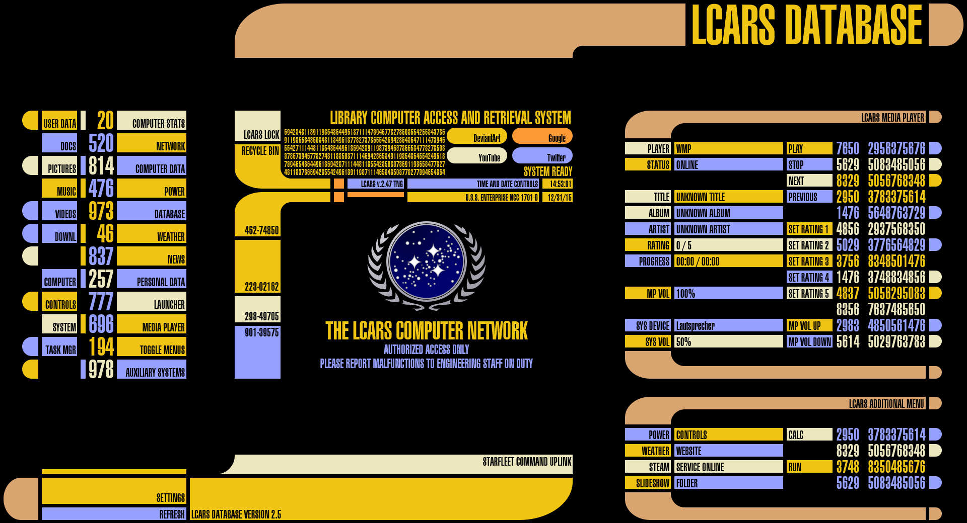 lcars for rainmeter v2 5 0 may 21 2016 by jefson on