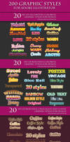 200 Graphic Styles for Adobe Illustrator