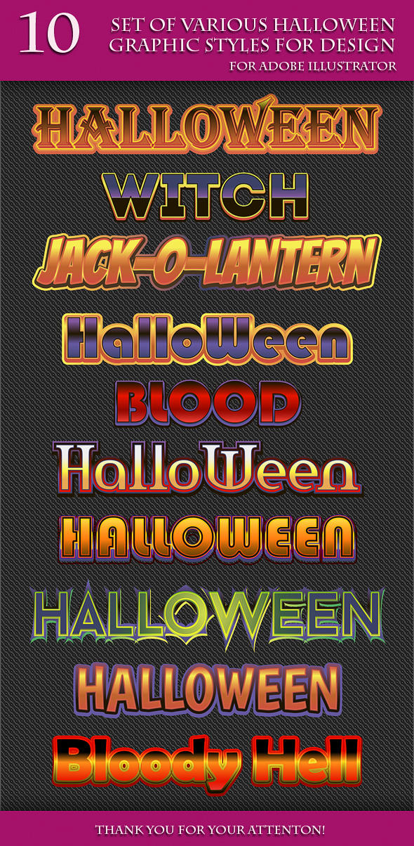 Set of Various Halloween Graphic Styles for Design