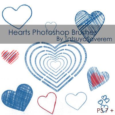 Photoshop Brushes- Hearts by tatsuyasaverem