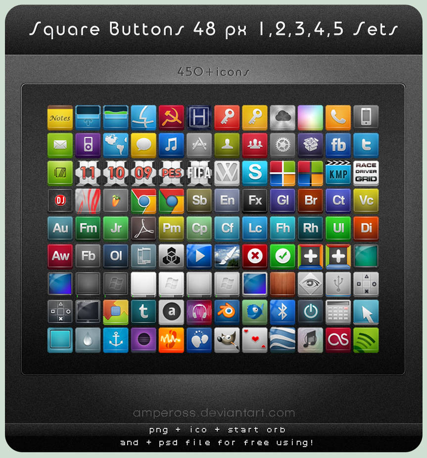 Square Buttons 48 px Sets 1-5 by Ampeross