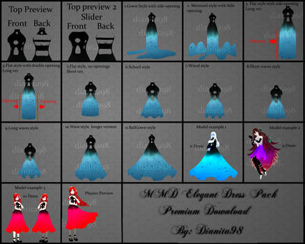 MMD Elegant Dress Pack Premium Download by MikuEvalon