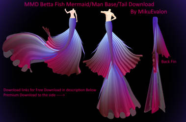 MMD Betta Fish Mermaid/Merman Tail/Base Download