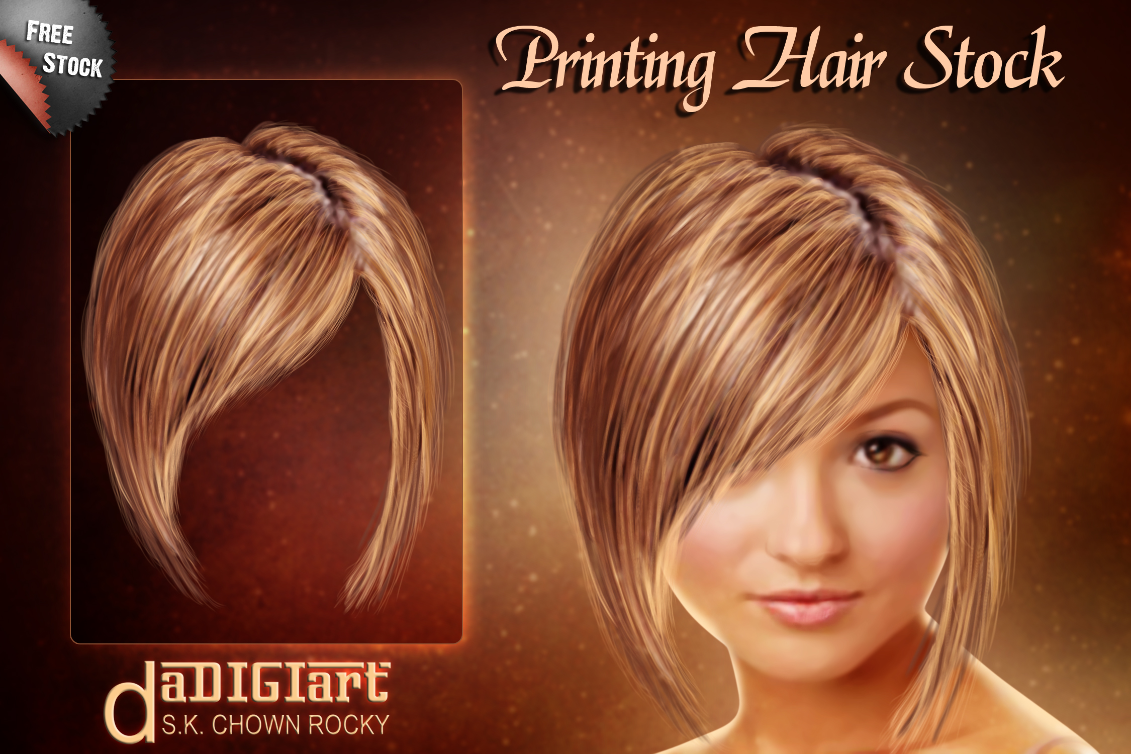Printing hair Stock by SK-DIGIART