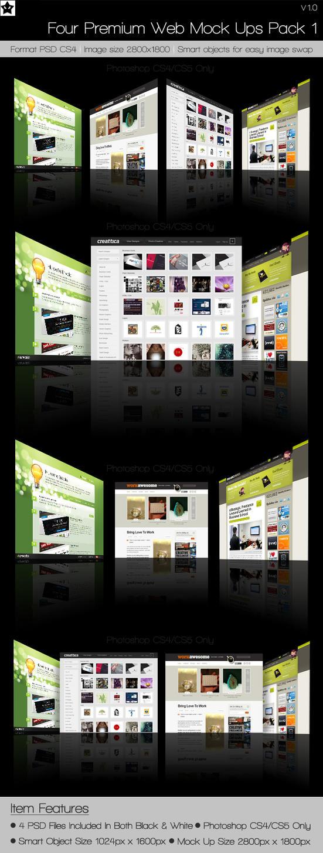Free website mock up pack photoshop by HollowIchigoBanki