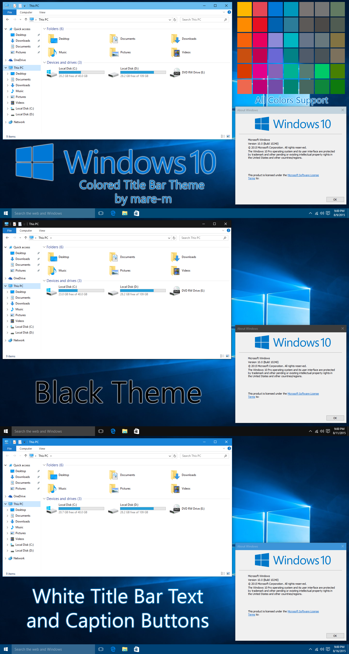 Colored Title Bar Theme for Windows 10