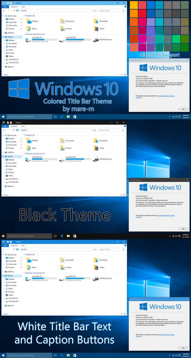 Colored title bar theme for windows 10 by mare m on deviantart colored title bar theme for windows 10 by mare m ccuart Choice Image