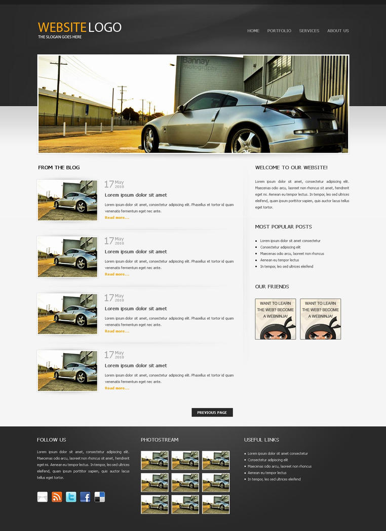 Free psd website template by ninjaofweb on deviantart for Free online drawing websites