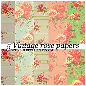 5 Rose Vintage Papers by purplepunchi