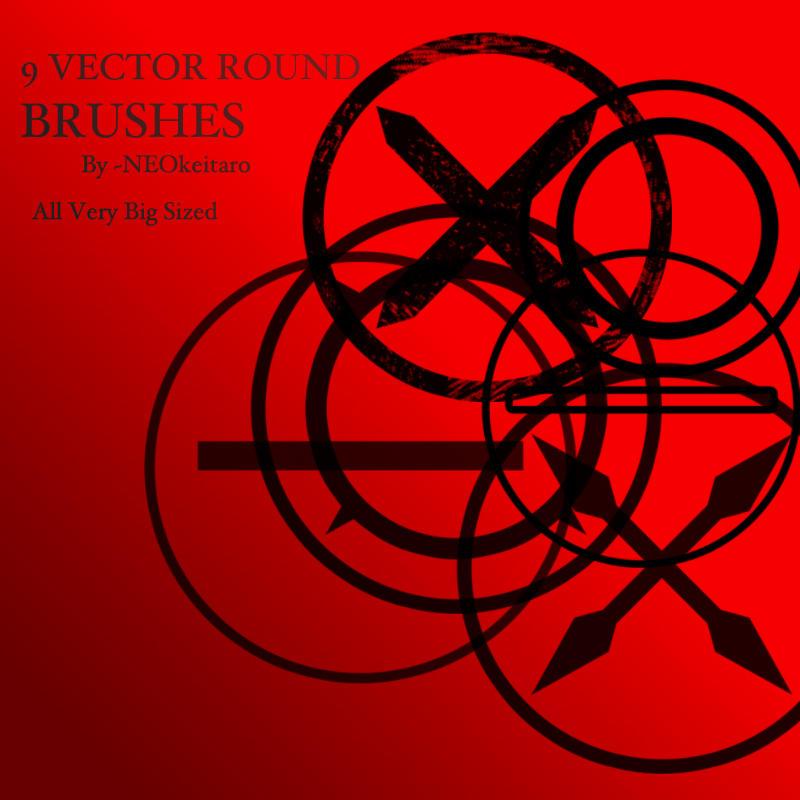 9 Vector Round Brushes by NEOkeitaro