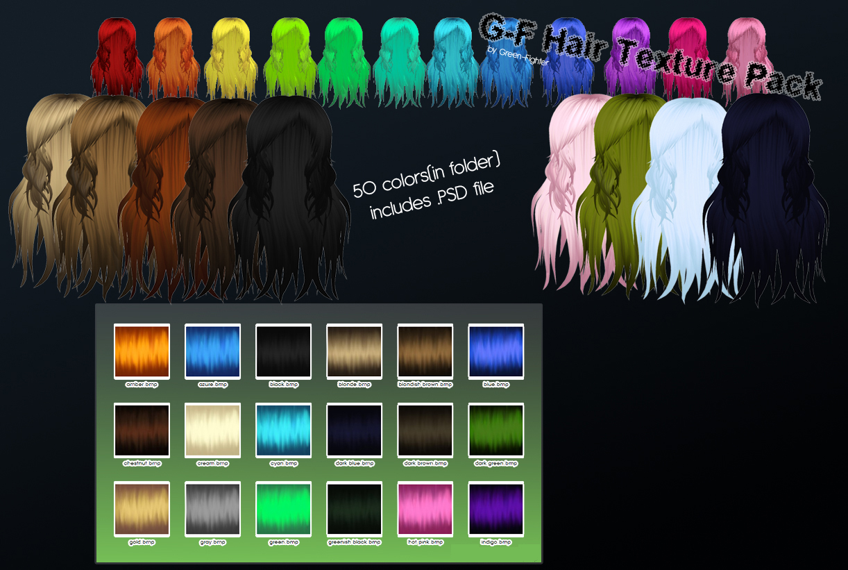 MMD G-F hair texture pack+DL by Sefina-NZ
