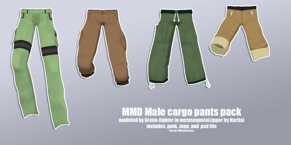 MMD male cargo pants pack+DL by Green-Fighter