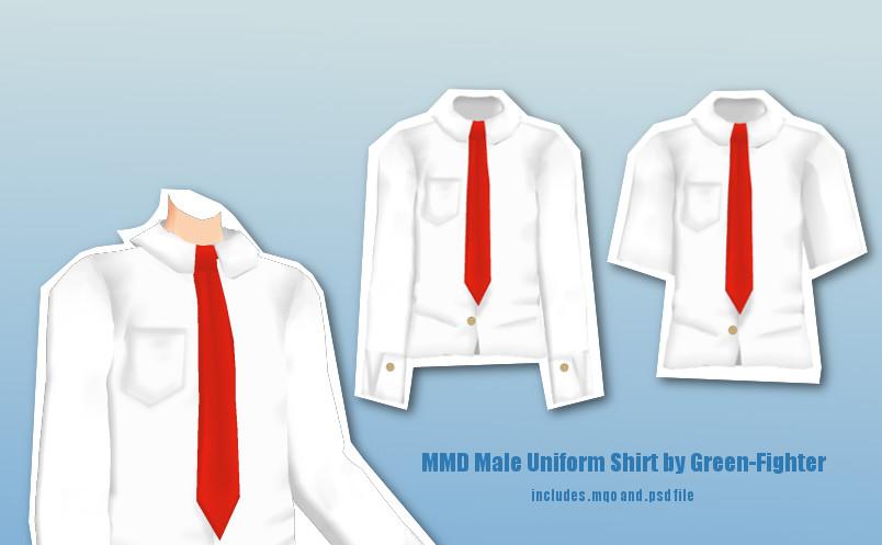 MMD Male Uniform Shirt+DL by Green-Fighter