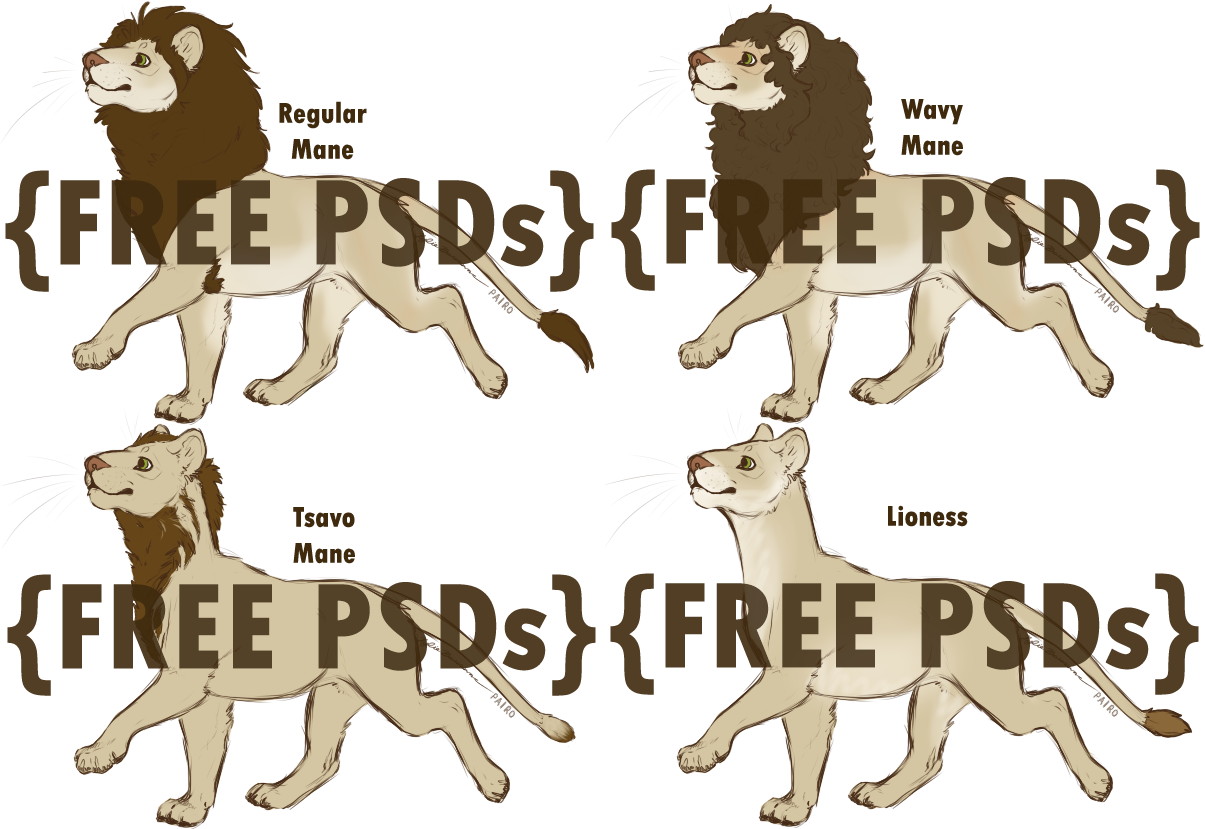 Free Lion Bases by Raptor-Tooth