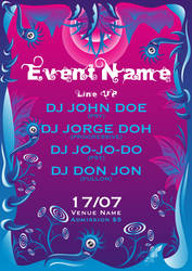 Chilly Summer psychedelic party flyer template