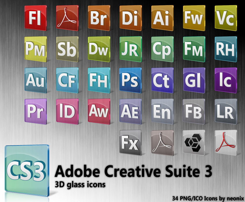 3D Glass - Adobe CS3 Icons