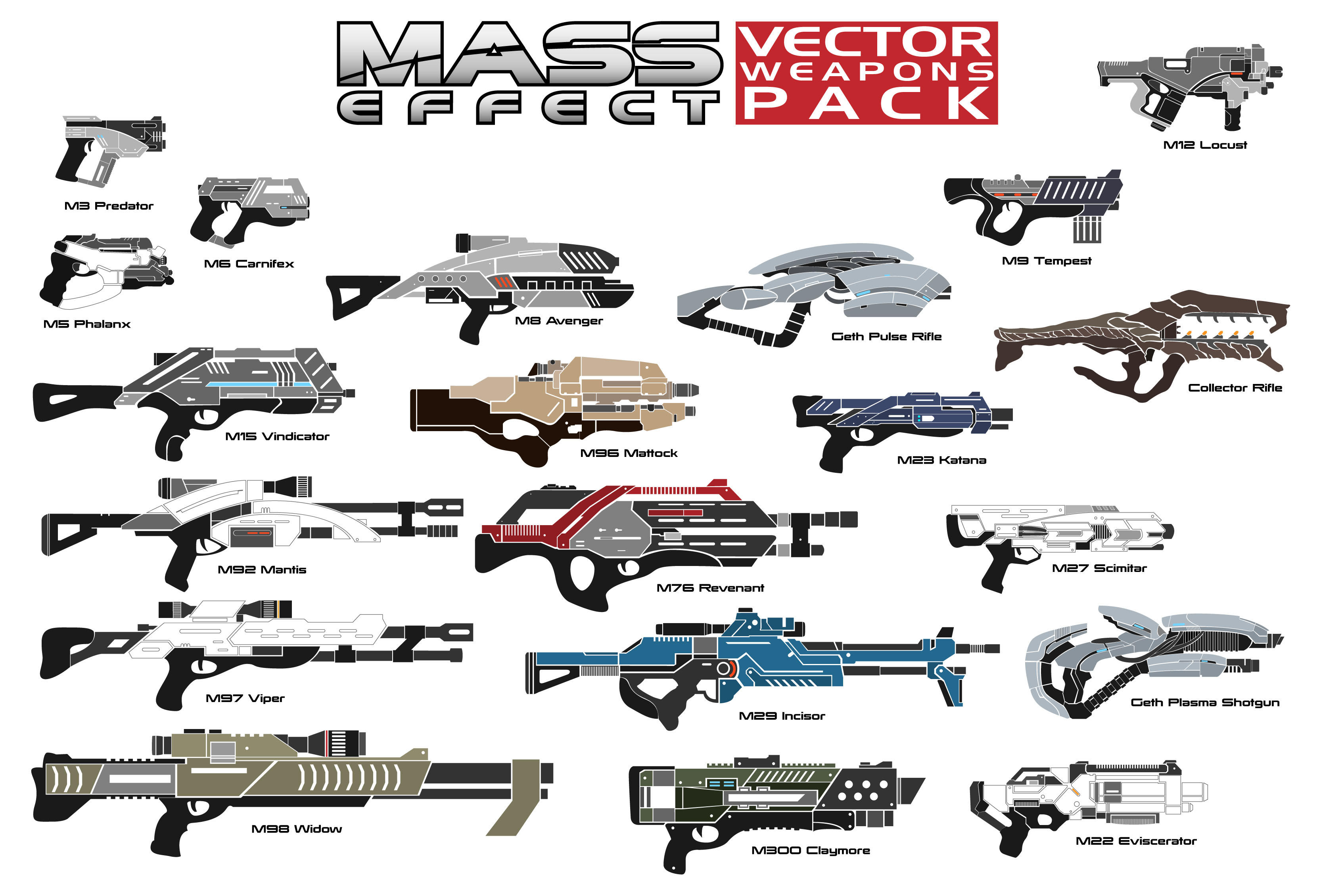 Mass Effect vector weapons pack by Croc-blanc