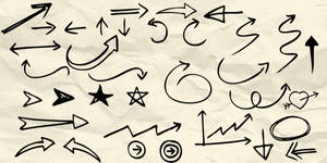 90 Hand drawn arrow and symbol Photoshop brushes