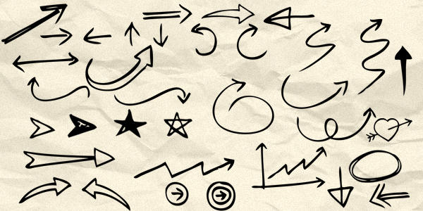 90 Hand drawn arrow and symbol Photoshop brushes by david1583