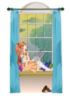Akane on Window, Ubunchu by doctormo