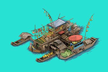 Floating Market by Socnau