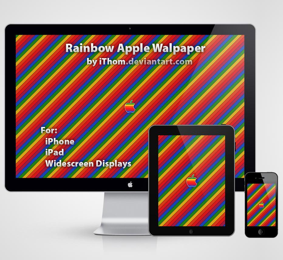Rainbow Apple Wallpaper by iThom